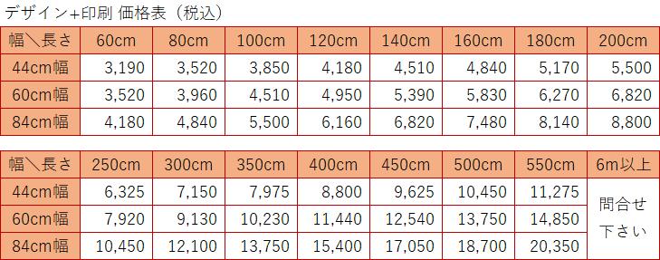横断幕の料金表
